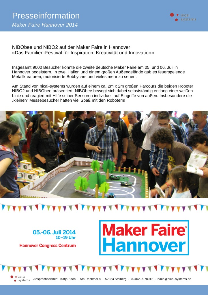 nicai-systems auf der Maker Faire Hannover